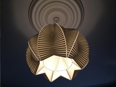 organic structure pendant lampshade made from corrugated polymer