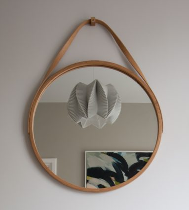 wooden mirror with twisted oak strap